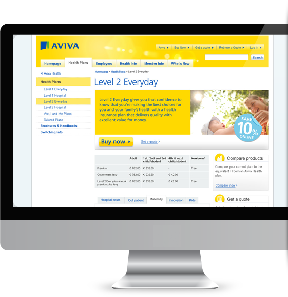 Aviva Health desktop version